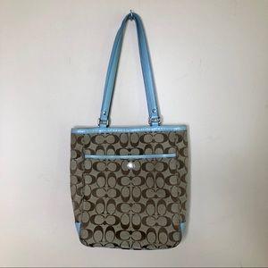 Coach brown and blue shoulder bag
